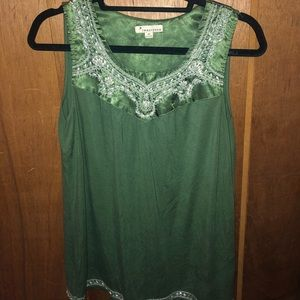 Gorgeous Emerald Green Top with Pearly Beads